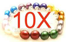 Wholesale 10 pairs 7-8mm MULTICOLOR Flat Natural Pearl Earring 925 stud-ear27s