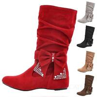 WOMENS LADIES MID WEDGE HIGH HEEL BOOTIES CUTE SHOES KNEE CALF ZIP BOOTS SIZE