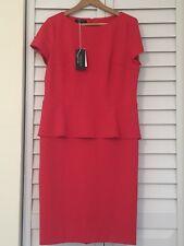 NWT LAFAYETTE 148 TANGO RED CAP SLEEVE   EVENING  DRESS  SIZE 14