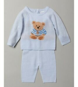 Baby boys clothes spanish style knitted bear 2 piece set blue 0-3 3-6 6-9 months