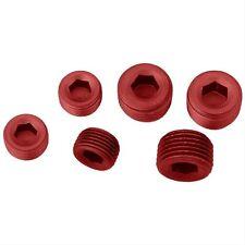 "Engine Block Intake Manifold Aluminum Plug Kit 1/2"" NPT 3/8"" NPT RED ANODIZED"