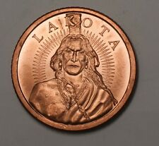 Chief Sitting Bull Lakota Free Bank One Ounce Uncirculated Copper Medal Currency