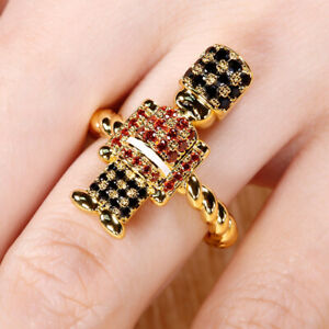Sparkling 2Ct Round Cut Red Garnet Soldier Ring in 14K Yellow Gold Finish