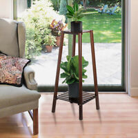 Bamboo 2 Tier Tall Plant Stand Pot Holder Small Space Table Garden Planter Brown