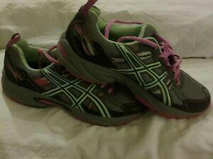 Asics GEL-Venture 5 T5N9Q Gray Pink Green Running Shoes Womens Size 9.5