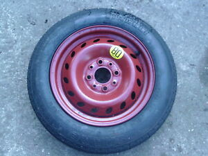 (128585) Fiat Panda Mk2 Wheel steel RED with space saver tyre 135 80 13 8mm