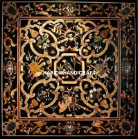 Marble Stone Black Dining Table Top Pietradura Inlaid Scagliola Home Decor H5143