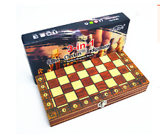 3 In 1 Wooden Magnetic International Chess Set Folding Travel Game Chessboard