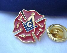 Masonic Lodge Fireman Fire Service First Responder Lapel Pin & Gift Pouch