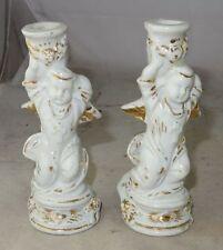 Paar antike Engel Kerzenleuchter Schutzengel Porzellan 19. Jhdt.
