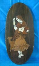 Rare Vintage Collectible Bone Fitted Woman With deer Design Wooden Hanging Panel