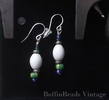 Ethnic white & multi-coloured African beads EARRINGS antique vintage glass .925