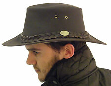 Campbell Cooper Leather Australian Kangaroo Bush Hat Brown Small 57