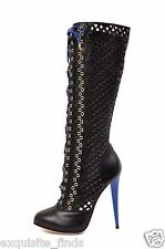 NEW VERSACE BLACK PERFORATED LEATHER PLATFORM BOOTS 37 - 7