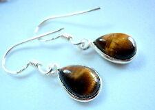 Tiger Eye Earrings 925 Sterling Silver Dangle Drop Corona Sun Jewelry