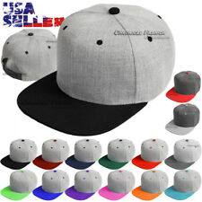 Baseball Cap Hat Blank Plain Solid Snapback Adjustable Flat Brim Mens Caps Hats