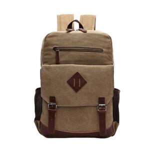 """Men Leather Canvas Backpack 14"""" Laptop Rucksack Bag Work Travel School Daypack"""
