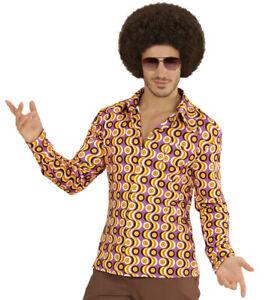 60's 70s Retro Disco Shirt Discs Mens Hippie Fancy Dress S- XXL