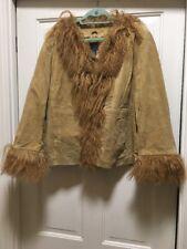 Venezia Suede Jacket Mongolian Lamb Fur Trim New NWOT 18 Camel