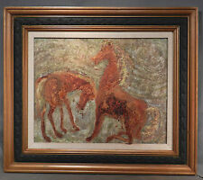 Vintage Modern Abstract Encaustic Cave Painting HORSES Mid Century Picture Frame