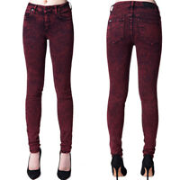 Kill City By Lip Service Junkie Fit Womens Stretch Skinny Jeans Red Black 25-31