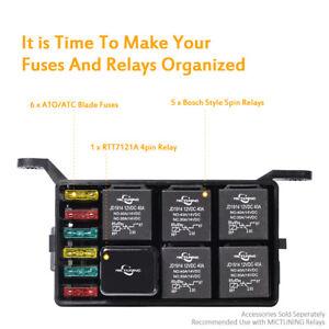 Car auto Fuse Relay Holder 12-Slot Relay Box 6 Relays 6 ATC/ATO Fuses Universal