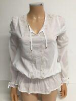 Roberto Cavalli Womens Top Blouse Shirt Size M White Long Sleeve