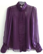 NWT VERTIGO PARIS Silk Purple Chiffon High Neck Top Blouse Button Shirt - Size S
