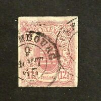 Luxembourg stamp #8, used, imperf, 12 1/2c rose, 1859-64, CV $160