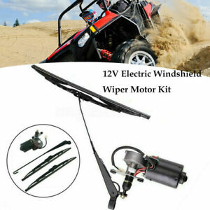 "12V UTV Electric Windshield Wiper Motor Kit For Polaris Ranger RZR 900 18"""