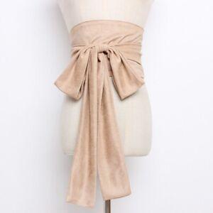 Lady Faux Suede Belt Corset Bow Wide Japanese Obi Kimono Yukata Waistband Decor