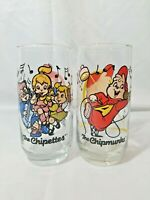 Set Of 2 Vintage 1985 The Chipmunks Alvin And The Chipettes Glasses