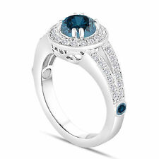 Platinum Fancy Enhanced Blue Diamond Engagement Ring 1.56Ct Handmade Halo Pave