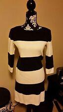 Gap Women's Sweater Shift Dress Navy & White Wide Rugby Stripe 3/4 Sleeve sz L