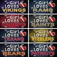 "This Girl Loves Her NFL Football Team Tags Signs Wall Decor Yard Signs 6"" x 12"""