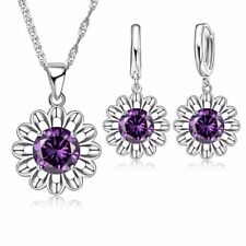 925 Silver Plated Flower Purple Necklace Pendant and Drop Earrings Jewellery Set