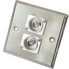 Brushed Steel Twin (2x) BNC Female/Socket Wall Face Plate Outlet – CCTV Camera