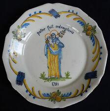 """B138) Assiette ancienne (MOUSTIERS?CENTRE? 18è """"MATER..1781"""" Pré-révolutionnaire"""