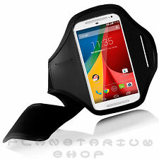 "NEW BLACK SPORTS ARMBAND COVER FOR MOTOROLA MOTO G 5"" 2014 8GB GYM JOGGING KEY"
