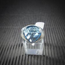 Ring Gr. 58, Silber 925, mit einem blauen Edeltopas aus Brasilien