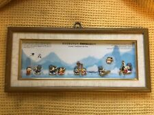 More details for korean traditional folk play shadow box picture with ceramic figurines