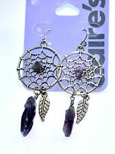 CLAIRE'S, DREAMCATCHER DROP EARRINGS WITH REAL AMETHYST