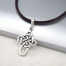 Silver Alloy Celtic Symbol Cross Pendant 3mm Black Leather Cord Ethnic Necklace