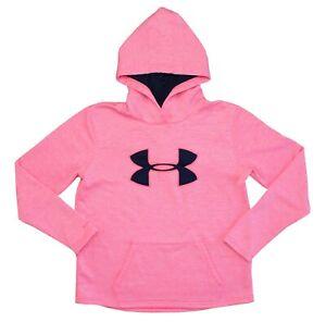 NWOT Women's Under Armour Pink Hoodie Sweatshirt w/ Navy Logo Size Medium