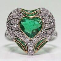 Women Jewelry Topaz Size 6-10 Ring Emerald Huge Silver Heart Men White