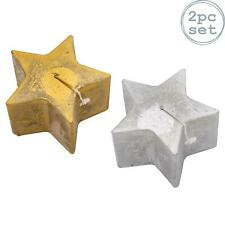 Metallic Candle Star Shape Large Luxe Candles 75hr Burn Gold Silver