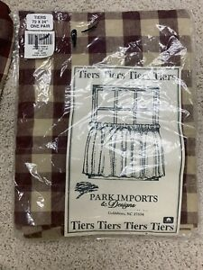 """Res Beige Gingham Plaid Tab Valance 68""""x24"""" Farmhouse Country"""