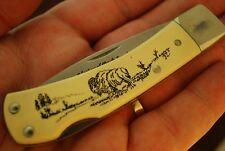 SCHRADE USA SCRIMSHAW 515SC BUFFALO LOCKBACK KNIFE NAT'L PARK 1916-1991 (1358)