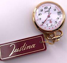 Justina 43532 Cal. Isa 1198 Vintage Pocket Watch Quartz Date Pocket 31 mm 3WC