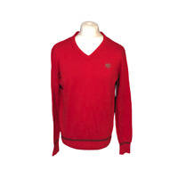 Soviet Men's Casual Jumper Large Red 100% Cotton